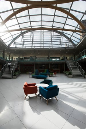 The student services area in the atrium at Nottingham Trent University.