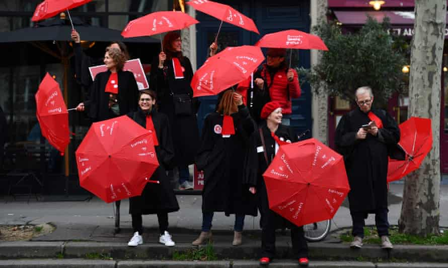 Lawyers from the Beauvais Bar take part in a demonstration in Paris on Monday against the French government reform of the pension system.