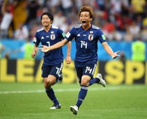 Takashi Inui celebrates scoring Japan's second goal to make it 2-0, before Belgium's amazing fight back to win the game 3-2.