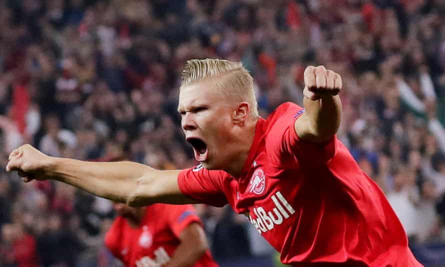 Erling Braut Haaland celebrates scoring Red Bull Salzburg's first goal in the second minute of his first Champions League game.