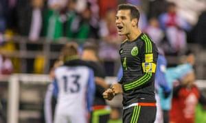 Rafael Marquez celebrates Mexico's victory over USA in Columbus.