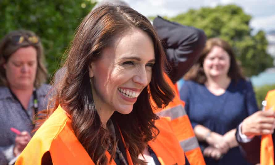 Jacinda Ardern visits a building site to announce Labour's housing policy during campaigning in Auckland in October 2020
