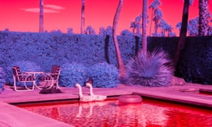 A garden in the desert photographed using infra-red light.