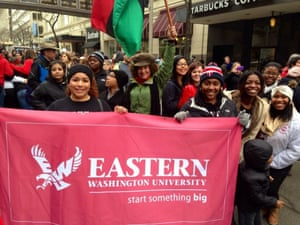 Dolezal with students leading a parade for Martin Luther King Jr Day, 2014.