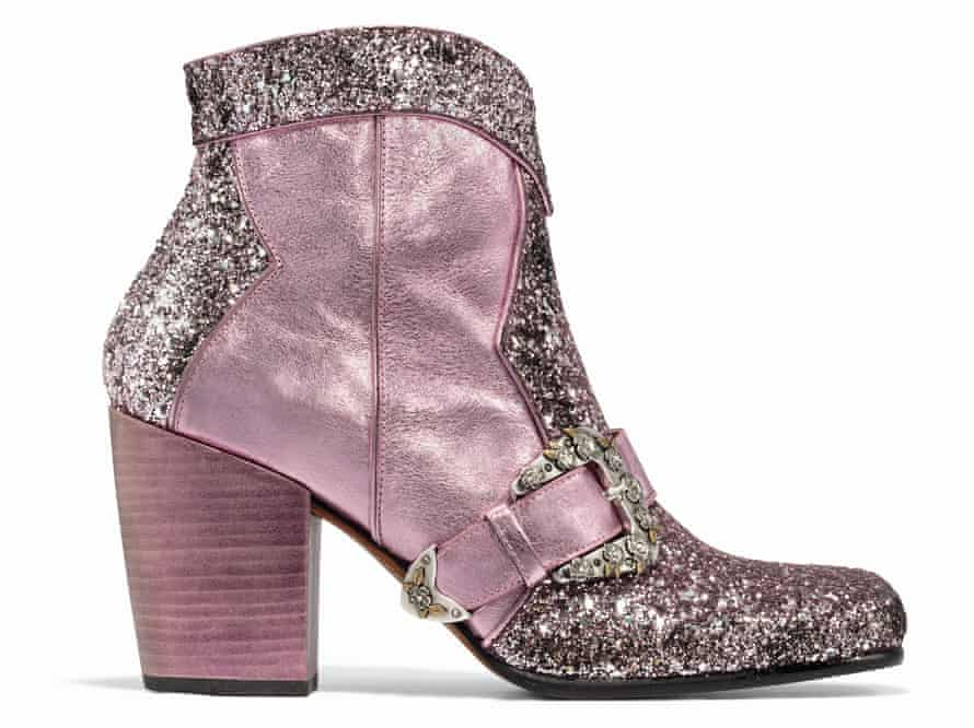 Made for walking: pink glitter boots by Coach.