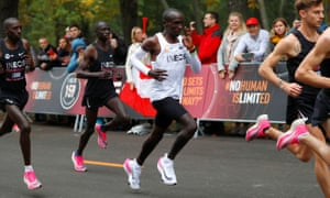 Eliud Kipchoge, the marathon world record holder from Kenya, attempts to run a marathon in under two hours in Vienna. (Photograph: Leonhard Foeger/Reuters)