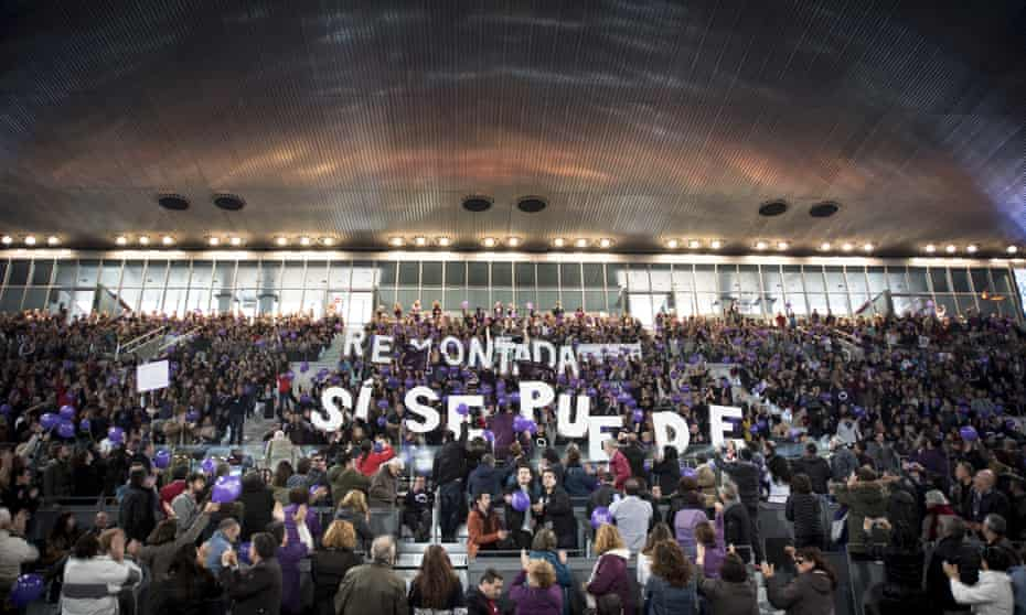 Thousands of people attend the Podemos main rally in Madrid.