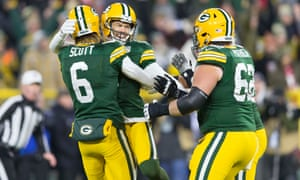 Mason Crosby celebrates his winning field goal against the 49ers