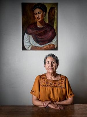 Isela Gonzalez Diaz in in the offices of the Alianza Sierra Madre.