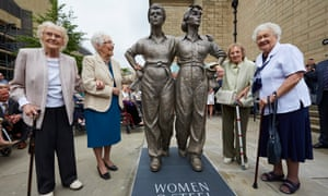 'Women of steel' Kathleen Roberts, Kit Sollitt, Ruby Gascoigne and Dorothy Slingsby at the unveiling of Sheffield's statue honouring their wartime work
