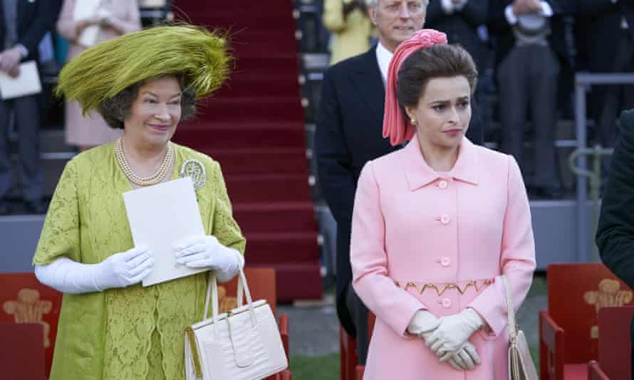 """Marion Bailey portrays Queen Elizabeth the Queen Mother, left, and Helena Bonham Carter portrays Princess Margaret in a scene from the third season of """"The Crown."""""""