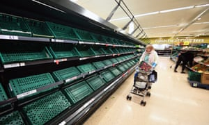 Empty shelves at a supermarket in London, March 2020