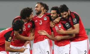 Mohamed Salah of Egypt celebrates a goal with his teammates during their 1-0 win over Ghana.
