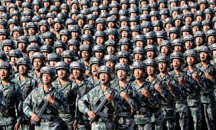 PLA soldiers prepare for a military parade