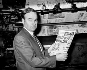 Rupert Murdoch inspects one of the first copies of the Sun in 1969
