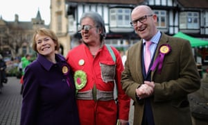 Ukip candidate Victoria Ayling, left, and party leader Paul Nuttall, right, with David Bishop, the candidate for the Bus-Pass Elvis Party