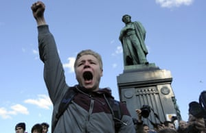 A man shouts anti-government slogans in Moscow