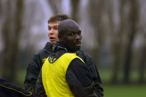 Barnet, you say? George Weah in training during his 2001 Chelsea loan spell.