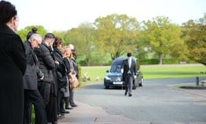 Mourners at the funeral of Hamid Farahi Alamdari at Harlow Crematorium in Harlow, Essex, on 4 May, 2018