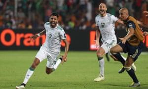 A delighted Riyad Mahrez celebrates scoring the winning goal