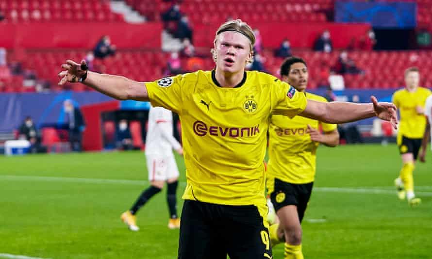 Erling Haaland of Borussia Dortmund celebrates scoring his team's second goal against Sevilla.