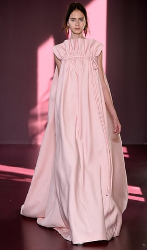 A full-length ruffled gown at Valentino.