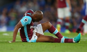 André Ayew, West Ham's record £20m signing, is injured early in the match against Chelsea at Stamford Bridge on Monday.