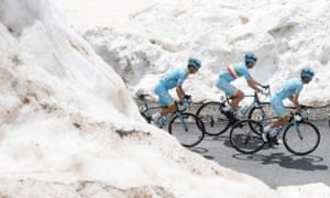 Vincenzo Nibali, centre, climbs with his teammates on his way to take the leader's pink jersey during the 20th stage of the Giro d'Italia last year.