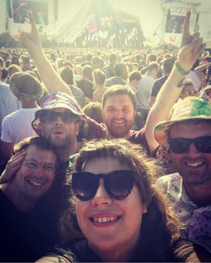 Nick Southey with friends at Glastonbury festival in 2017, watching Chic and Nile Rodgers on the Pyramid stage.