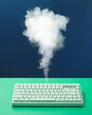 keyboard with smoke coming out of it