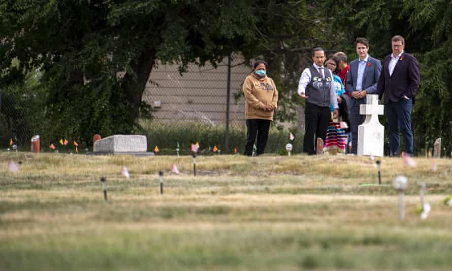 Prime Minister Justin Trudeau in the Cowessess Firsat Nation in Saskatchewan last week, where 751 unmarked graves were discovered.