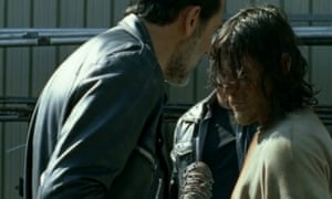 Negan waves his baseball bat Lucille close to Darryl's head, but our hero doesn't flinch.