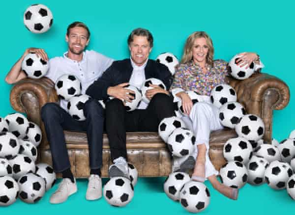 Crouch with his fellow Back of the Net presenters, John Bishop and Gabby Logan