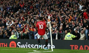 Marcus Rashford celebrates after putting Manchester United ahead