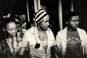 Winnie Mandela after charges against her were dropped, February 1986