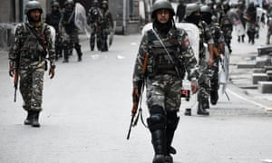 'Massive army deployments have been used to enforce Delhi's diktat': Indian forces on the streets of Srinagar, Kashmir, on 9 August 2019.