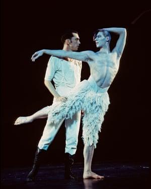 Scott Ambler, left, and Adam Cooper dancing in Swan Lake at Sadler's Wells, London, in 1995.