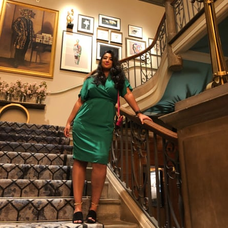 Coco Khan on the staircase at The Dixon hotel, London