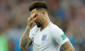 Kyle Walker reacts at the final whistle