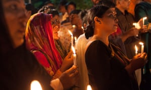 A vigil in Dhaka after a terrorist attack at a restaurant in July.