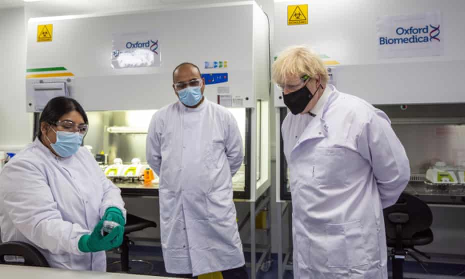 Boris Johnson on a visit to the lab where Oxfor Biomedica makes the AstraZeneca vaccine.