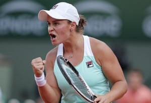 But not for Ashleigh Barty as she celebrates winning the first set.