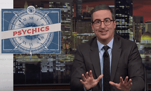 """John Oliver on psychics: """"At best, it is reckless for a stranger to take a stab at ventriloquizing the dead. Loss is complicated, and mourning doesn't look the same for everyone. But at worst, when psychic abilities are presented as authentic, it emboldens a vast underworld of unscrupulous vultures, more than happy to make money by offering an open line to the afterlife, as well as many other bullshit services""""."""