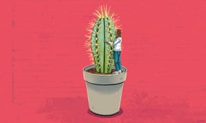 An illustration of a woman hugging a giant cactus