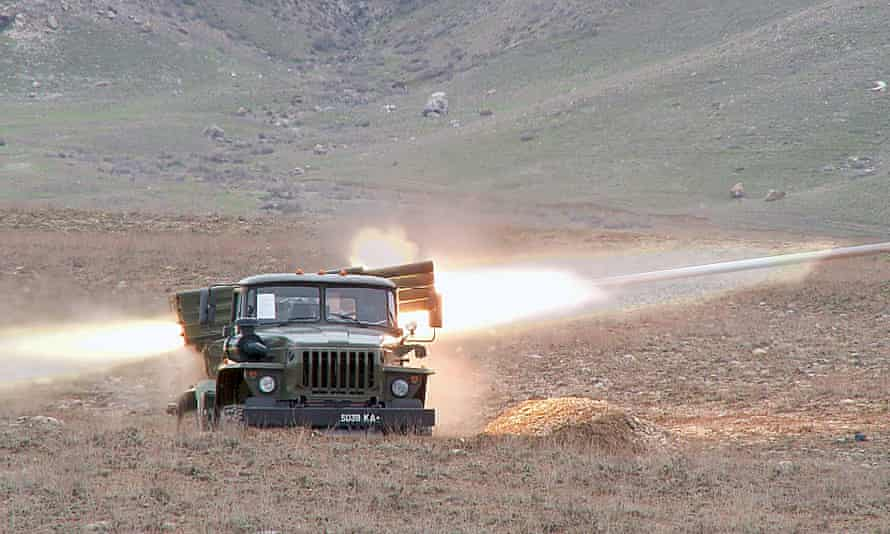 A Kyrgyzstan military vehicle taking part in drill in the south of the country on 1 April.