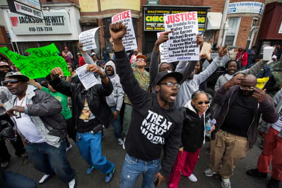 People celebrate after Marilyn Mosby announced that six police officers were to be charged in the death of Freddie Gray. She failed to win any convictions.