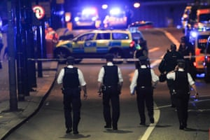 Police officers at the scene of an attack on London Bridge.