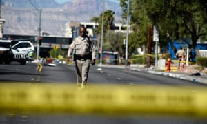 Las Vegas police investigate after the shooting at the Route 91 Harvest country music festival.