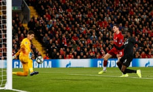 Liverpool's Andrew Robertson scores their second goal.
