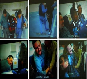 Caught on video … the moment Semira Adamu was restrained by Belgian gendarmes.